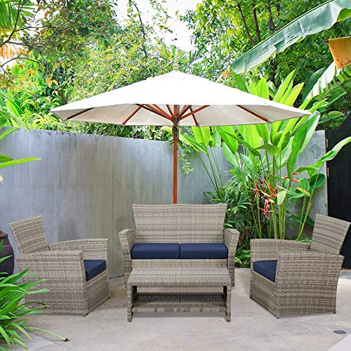 Laurel Canyon Outdoor Patio Furniture 4 Piece Wicker Conversation Sets, Rattan Sectional Sofa Couch with Cushions and Coffee Table for Porch Deck, Grey