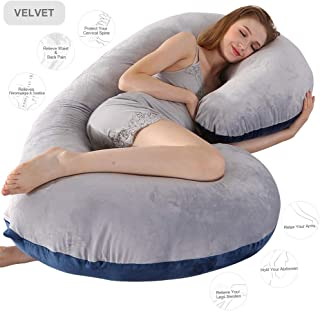 Pregnancy Pillow, 52 inches Full Body Pillow Maternity Pillow for Pregnant Women, Comfort C Shaped Zootzi Pillow with Removable Washable Velvet Cover(Grey and Navy Blue, 52 x 26 inches)