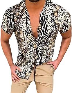 Camiseta de Hombre con Estampado de Serpiente Leopardo Manga Corta Transpirable con Botones Elasticos Camisa de Primavera ...