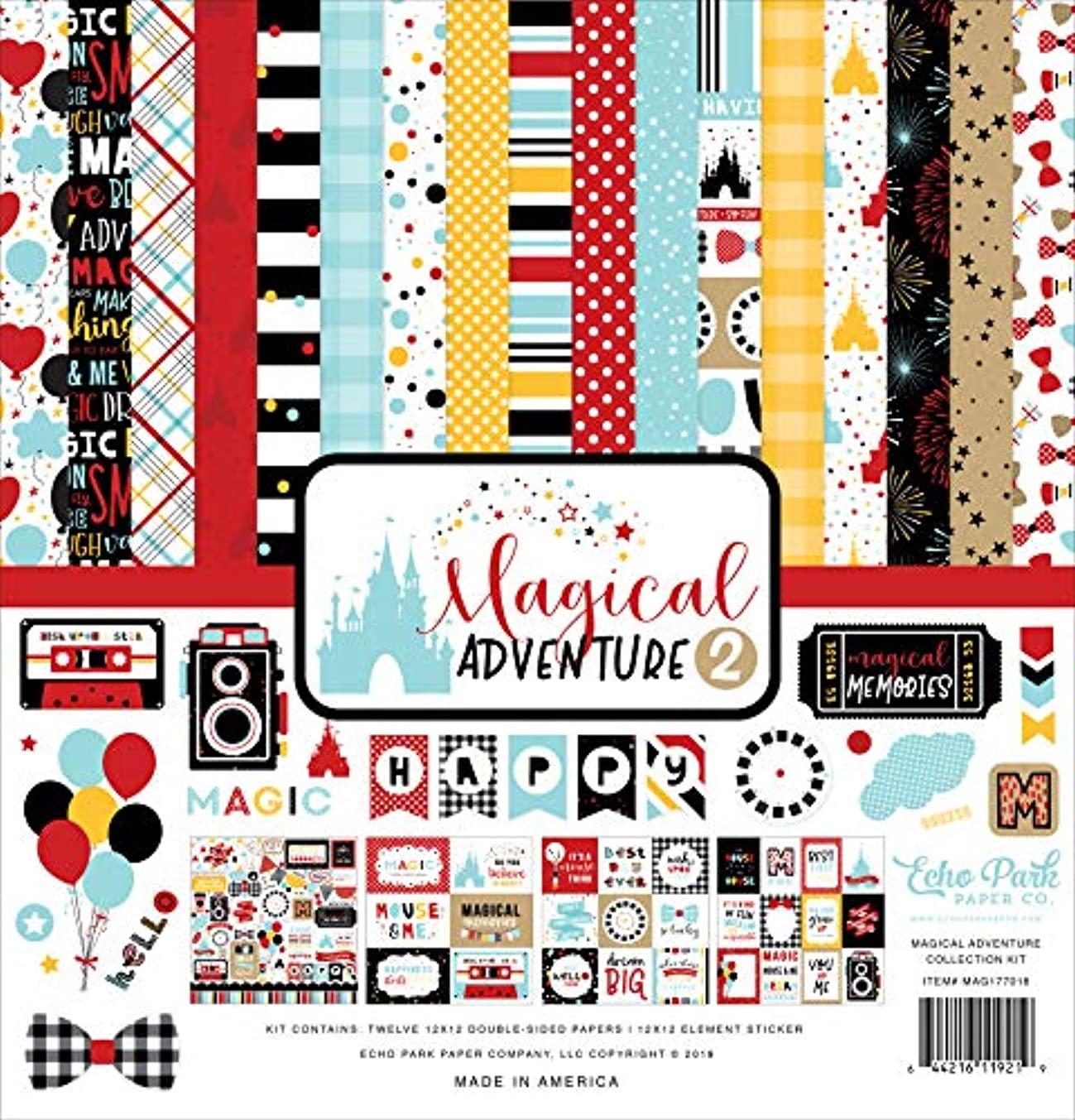 Echo Park Paper Company MAG177016A Magical Adventure 2 Collection Kit Paper red, Yellow, Teal, Black
