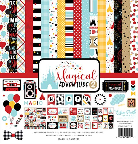 Echo Park Paper Company MAG177016 Magical Adventure 2 Collection Kit de papel negro, rojo, amarillo, verde azulado, kraft