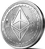 Moneda física de Ethereum revestida en plata auténtico. Una verdadera pieza de coleccionista, con estuche protector....