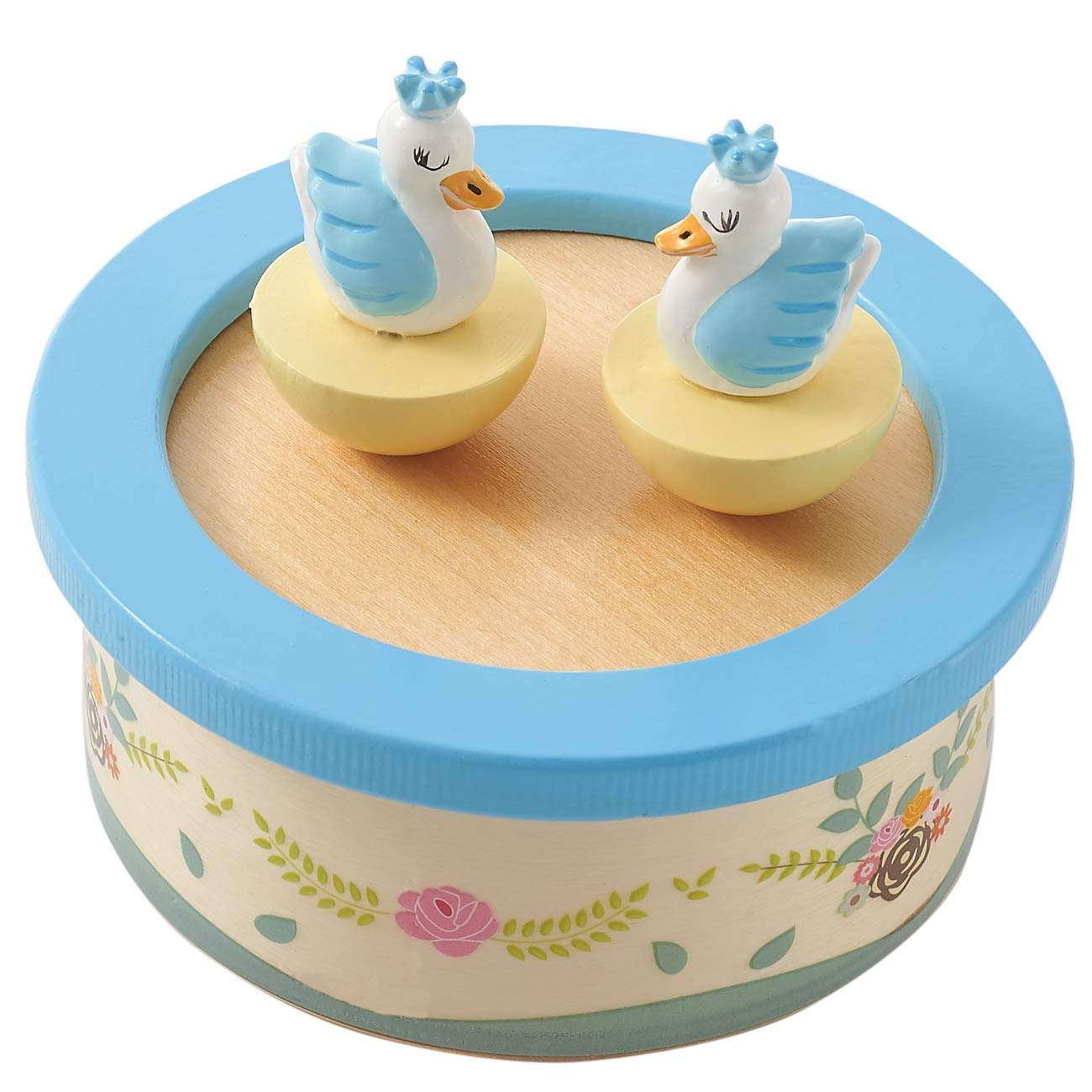 Image of Cute Swan Lake Wooden Music Box for Kids - Available in Pink or Blue