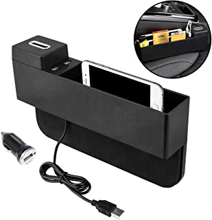 Oneuda Car Seat Side Pocket Console Organizer USB Ports Seat Gap Filler Car Interior Accessories for Cellphones Keys Cards Wallets Coins (Black)