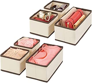 mDesign organisateur de tiroir (lot de 6) – boite de rangement respirante pour chaussettes, lingerie, etc. – rangement tir...