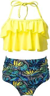 TTAO Kids Girls 2PCS Halter Tankini Set Swimwear Beachwear Ruffled Bikini Tops with Floral Printed Briefs Bathing Suit