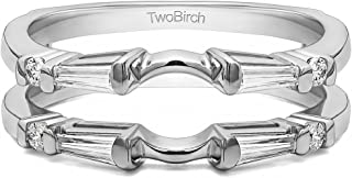 TwoBirch 0.46 Ct. Baguette and Round Solitaire Enhancer in Sterling Silver with Cubic Zirconia