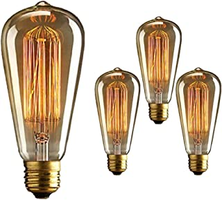 Vintage Edison Bulb 40W 110V E26 Base Squirrel Cage Tungsten Filament Incandescent Light Bulb, Warm Light Dimmable, Pack of 3