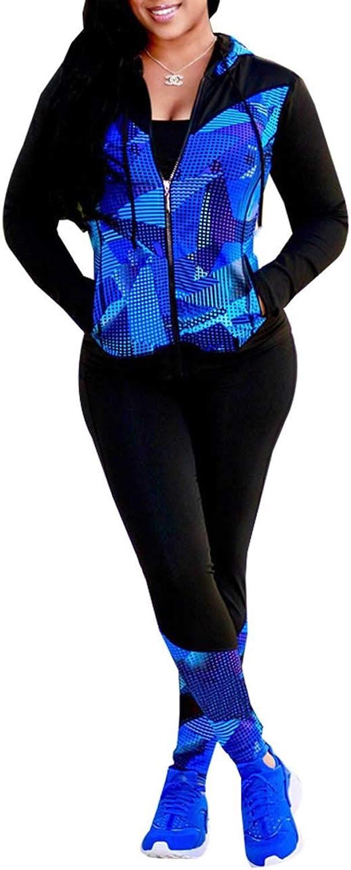 Akmipoem Women Digital Printed Tracksuit 2 Piece Outfits Long Sleeve Hoodie Jacket+Pants Set