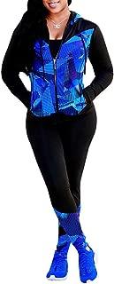 Women Digital Printed Tracksuit 2 Piece Outfits Long Sleeve Hoodie Jacket+Pants Set