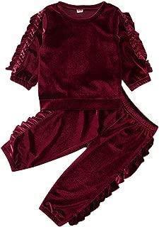 Bambini Ragazza Cuore Top a Manica Lunga Camicia Maglione+Gonna Pantaloni Tuta