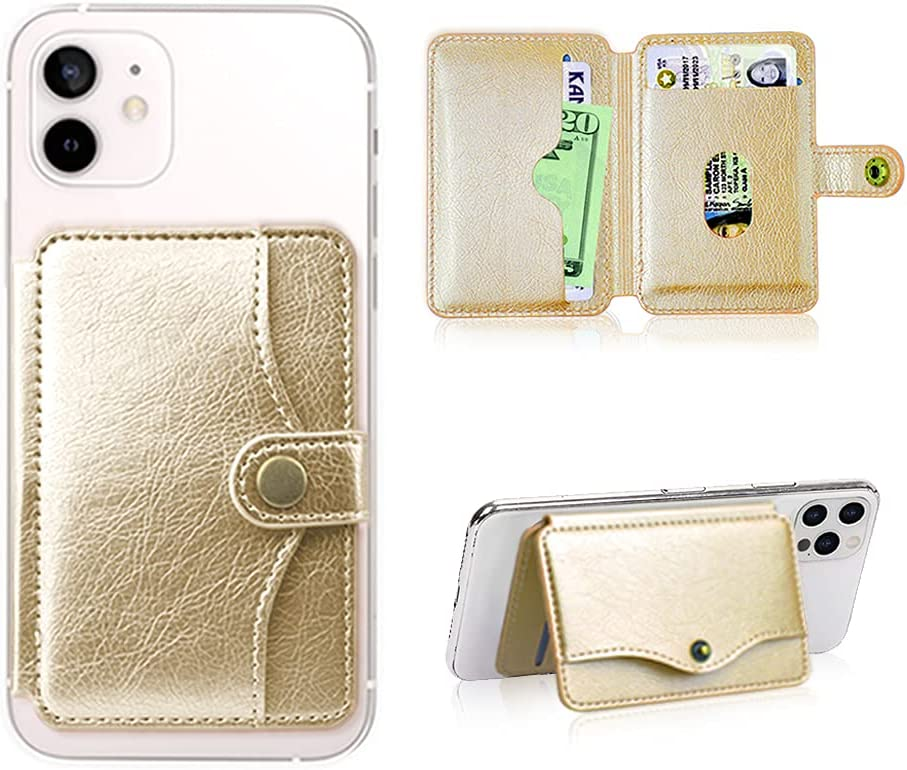 M-Plateau 2021 New Sticky Wallet for Back of Phone Slim 3M Adhesive Credit Card Holder for Cell Phone.for iPhone 12 & iPhone 12 Pro 6.1 Inches/one Plus 8T/Samsung Galaxy Most Smartphones (Gold)