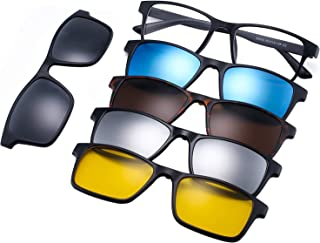 Arabest Magnetic Clip on Sunglasses - 5pcs Clips on Sunglasses for Men & Women Polarized UV Protection Retro Square Eyegla...