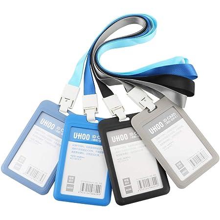 GTIWUNG Lot de 4 Porte-Badges, Porte-Carte d'identité Badge Nominatif, Portes-Clés d'identité Badge pour l'entreprise, Travail, Expositions, Conférences, Bureau, Style Verticale