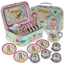 Jewelkeeper – Set da tè per Bambini 15 Pezzi E Custodia per Il Trasporto – Design Siren