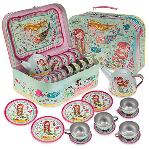 Jewelkeeper - Set da tè per Bambini 15 Pezzi E Custodia per Il Trasporto - Design Sirena