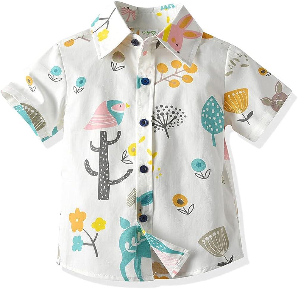 LittleSpring Little Boys Max 88% Sales OFF Button Down Shirts Sleeve Cartoon Short