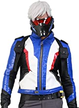 Soldier 76 Cosplay Jacket Embroidered PU Leather Gaming Costume for Men/Teens