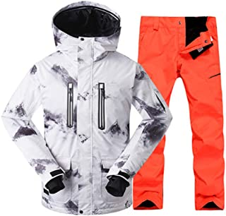 New Men's Ski Suit Outdoor Winter Thickened Windproof Warm Waterproof White Ski Jacket+Ski Pant