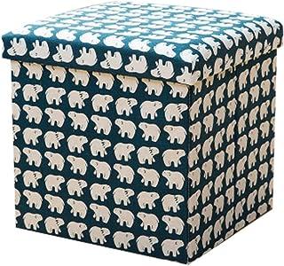 Young & Joy Taburete Plegable Otomano Plegable Banqueta Taburete Asiento Caja de Almacenamiento Cubos Que ahorran Espacio Caja Baúl Puff Taburete de almacenaje Plegable fáciles de Transportar (Oso)