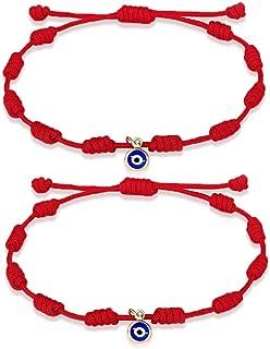 UNGENT THEM Evil Eye Bracelet Ojo Turco Kabbalah Red String Amulet Nazar Adjustable Rope Bracelet for Women Men Boys Girls Family Friends 2Pcs