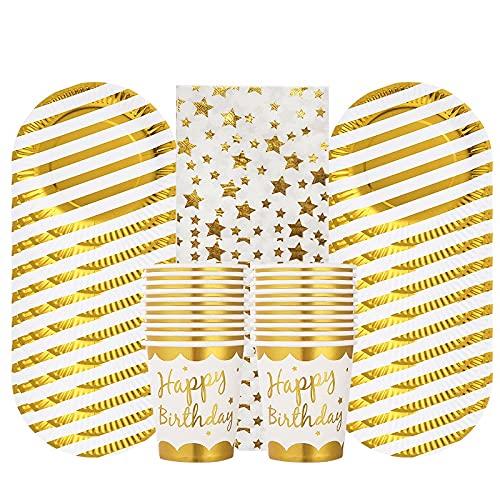 PPuujia Vajilla desechable 60 unidades para fiesta de oro y plata, vajilla desechable para champán, decoración de fiesta de cumpleaños, suministros para fiestas de bebé (color amarillo fluorescente)