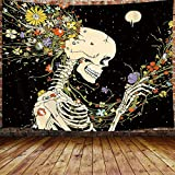 JAWO Trippy Skull Floral Tapestry, Boho Hippie Psychedelic Skeleton Flower Moon Tapestry Wall Hanging for Bedroom, Cool Tapestries Poster Beach Blanket College Dorm Home Decor (60W X 40H)