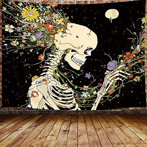 Tapiz de arte floral JAWO con diseño de calavera psicodélica, flores y esqueleto para colgar en la pared para dormitorio universitario, tapiz negro con diseño de galaxia y monn