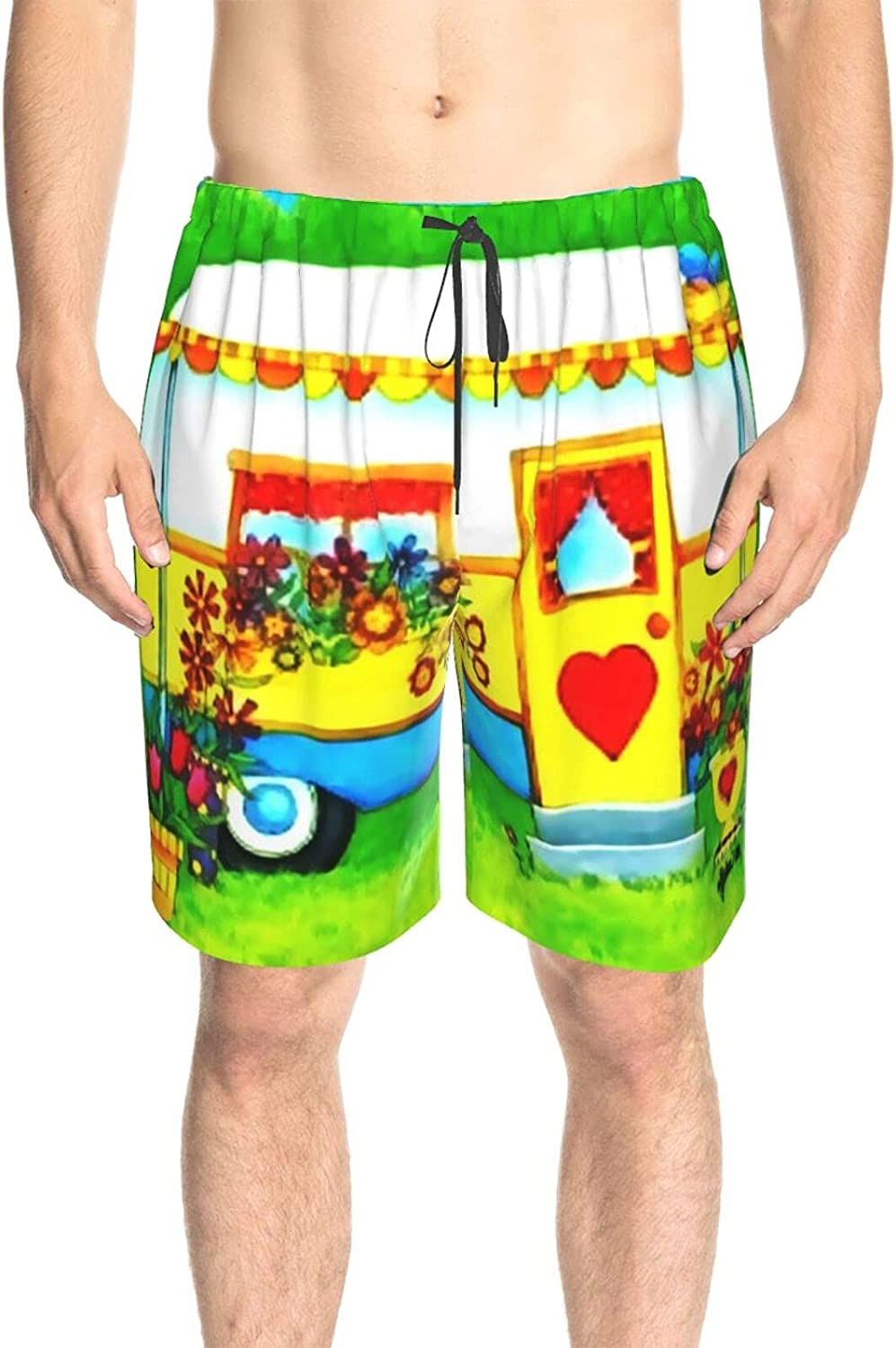Mens Bathing Suits Home is Where You Park Camper Swim Boardshorts Fast Dry Fashion Beach Swim Trunk with Liner