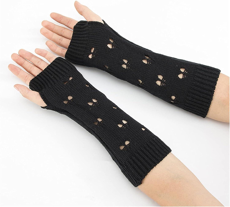 CHHNGPON Ladies Gloves Women Gloves Stylish Hand Warmer Winter Gloves Women Arm Crochet Knitting Hollow Heart Mitten Warm Fingerless Gloves (Color : Black, Gloves Size : One Size)