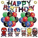 smileh Decoracion Cumpleaños Superhéroes Globos Vengadores Feliz Cumpleaños del Pancarta Marvel Aluminio Globos para Niños Decoraciones de Fiesta...