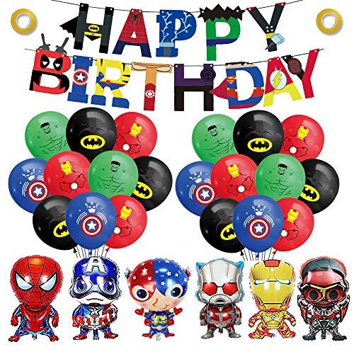 smileh Decoracion Cumpleaños Superhéroes Globos Vengadores Feliz Cumpleaños del Pancarta Marvel Aluminio Globos para Niños Decoraciones de Fiesta Cumpleaños de Avengers