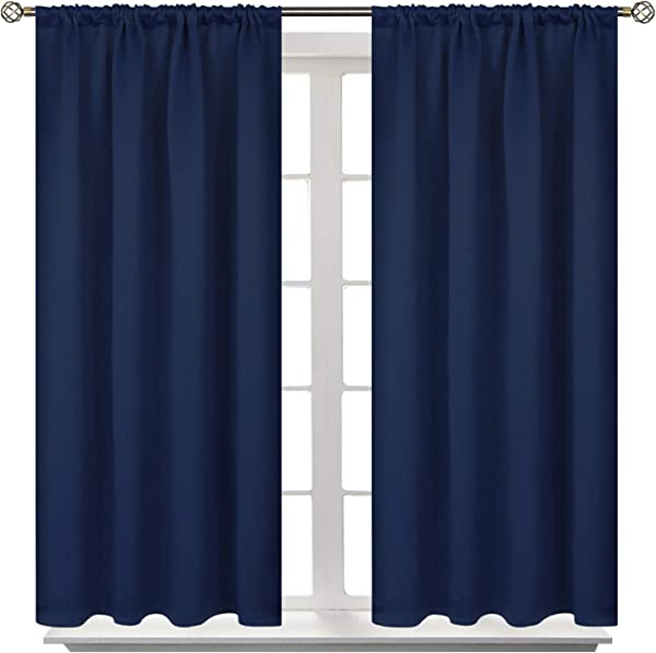 BGment Rod Pocket Blackout Curtains For Bedroom Thermal Insulated Room Darkening Curtain For Living Room 42 X 45 Inch 2 Panels Navy Blue