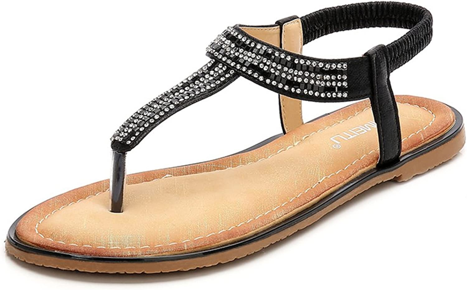 Baviue Womens Outdoor Jeweled Thong Sandles Leather Sandals