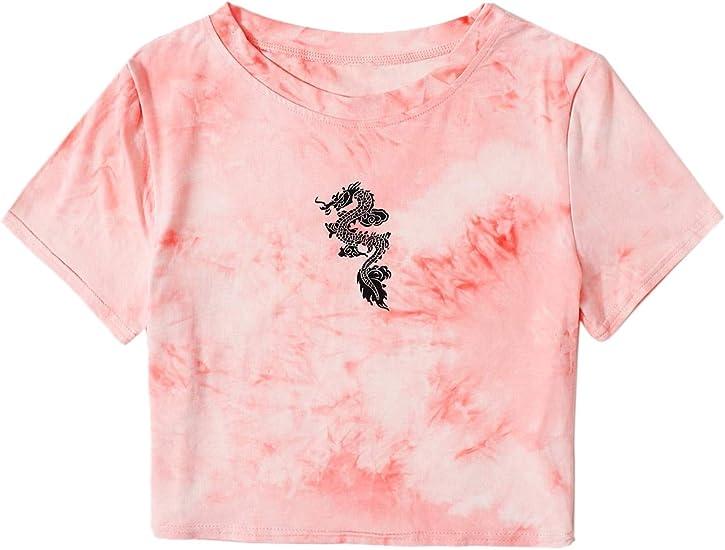 short cropped dragon t-shirt cool pattern cheap unique sale