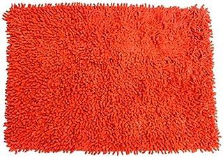 MSV mata łazienkowa szenila z bawełny w kolorze pomarańczowym 60 x 40 cm, mikrofibra, 60 x 40 cm
