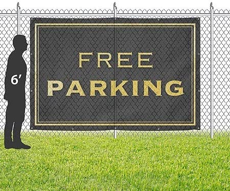 Classic Gold Wind-Resistant Outdoor Mesh Vinyl Banner Free Parking 12x8 CGSignLab