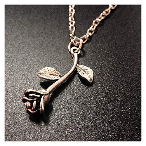 WanXingY Women's New Rose Flower Pendant Necklace Fashion Glamour Gift Vintage Boho Plant Style Necklace (Color : Rose flower)