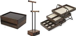 Umbra Black Walnut Jewlery Collection- 3 Item Bundle - Pillar Jewlery Stand, Terrace Jewlery Tray, and Stowit Jewlery Box