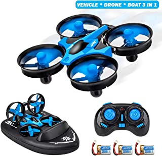 MOSTOP JJRC H36F Mini RC Drone, 3 in 1 RC Quadcopter Support RC Vehicle RC Hovercraft Boat Mode 360° Flips Headless One Key Return, Best Drone for Kids Beginners Children Toys Gift + 3 Battery