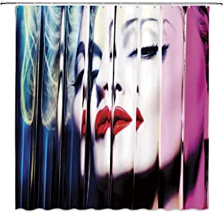 AMNYSF Madonna MDNA Shower Curtain Colorful Woman Portrait Music and Movie Star Creative Beauty Girl Decor Fabric Bathroom Curtains,Waterproof Polyester with Hooks 70x70 Inch