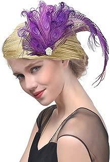 Fxaelian 20s Peacocok Feather Fascinator Clips Headpiece Headband Flapper Hair Clips Kentucky Gatsby Tea Party Wedding Derby Performance For Women Purple