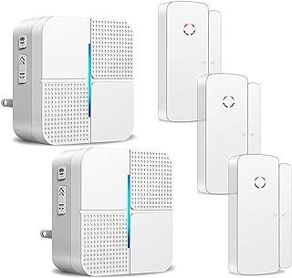 Wireless Door Open Chime Alert Door Entrance Entry Alarm for Business Home Store Office 2 Receiver & 3 Magnetic Window Sensor 52 Ringtones 4 Volume Level