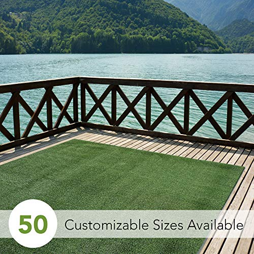 Indoor/Outdoor Turf Rugs and Runners in Green 12' X 10' Low Pile Artificial Grass in Many Custom Sizes and Widths with Finished Edges with Binding Tape
