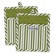 "DII Cotton Gourmet Stripe Pot Holders with Pocket, 9 x 8"" Set of 2, Machine Washable and Heat Resistant Pocket Mitts for Cooking and Baking-Parsley Green"