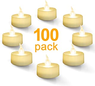 Homemory Battery Tea Lights Bulk, 100-Pack Warm White Electric Tea Lights, Flickering Tea Lights, Long Lasting Battery Life, Ideal for Votive, Party, Dining Room