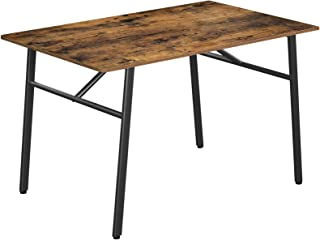 VASAGLE Dining Table,Kitchen Table,Sturdy Steel Frame,Computer Desk,Office Desk,47.2 x 29.5 x 29.5 Inches,Industrial Style...