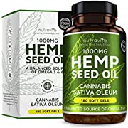 Hemp Oil 1000mg Supplement - 180 Soft Gel Capsules of Pure Cold Pressed Hemp Seed Oil - Rich in Omega 3 & 6-6 Months Supply - Made in The UK by Nutravita