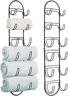 mDesign porte-serviette mural (lot de 2) – porte-serviette enmétal – accessoire de salle de bain élégant, également adapt...