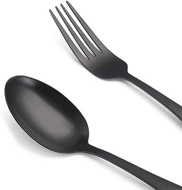 Matte Black Silverware Set, Satin Finish 20-Piece Stainless Steel Flatware set, Tableware Cutlery Set Service for 4, Utensils